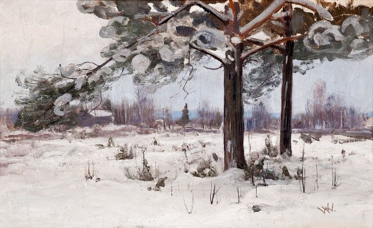 SNOW COVERED PINE TREES, oil on canvas, Victor Westerholm (1860-1919)