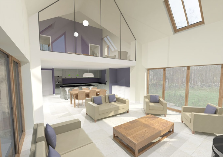 New energy efficient house in Ballogie Aberdeenshire designed by www.jamstudio.uk.com - 3D concept image - Double height living room with gallery bedroom