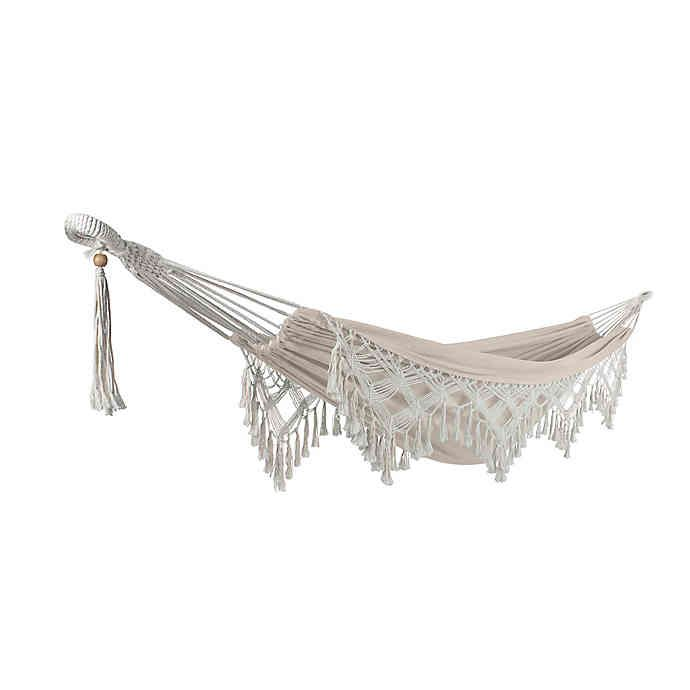 Bliss Hammocks 10 Foot Fringed Hammock In A Bag In Natural In 2020 Hammock Hammock In A Bag Fringed
