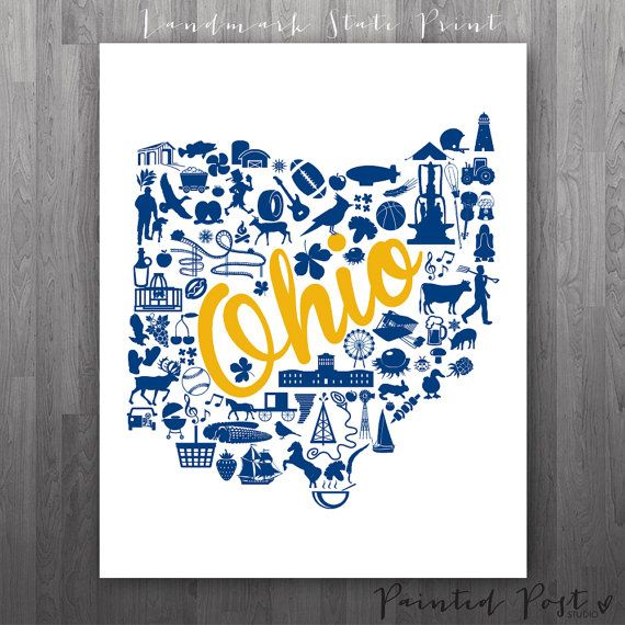 Kent Ohio Landmark State Giclée Print  8x10  Blue by PaintedPost, $15.00 #paintedpoststudio - Kent State University - Golden Flashes- What a great and memorable gift for graduation, sorority, hostess, and best friend gifts! Also perfect for dorm decor! :)