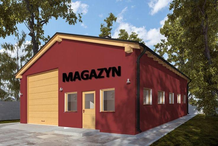 Projekt budynku magazynowego, parterowego, niepodpiwniczonego z czterema pomieszczeniami gospodarczymi, komunikacją i łazienką.