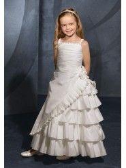 Radiant Taffeta Draped Bodice Ankle-Length Flower Girl Dress