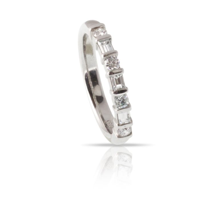 Alternating Round And Baguette Diamonds In A White Gold Bar Setting This Wedding Band Is