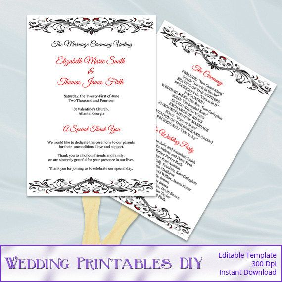Red Black and White Wedding Fan Programs by WeddingPrintablesDiy, $8.00