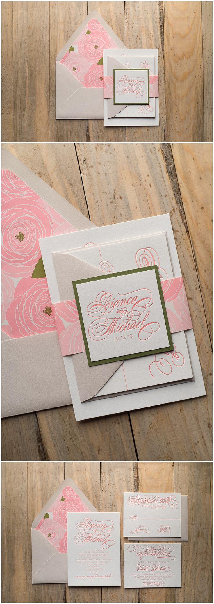 Wedding Invitations, Letterpress, Calligraphy, Blush Floral, Bianca Suite, Just Invite Me