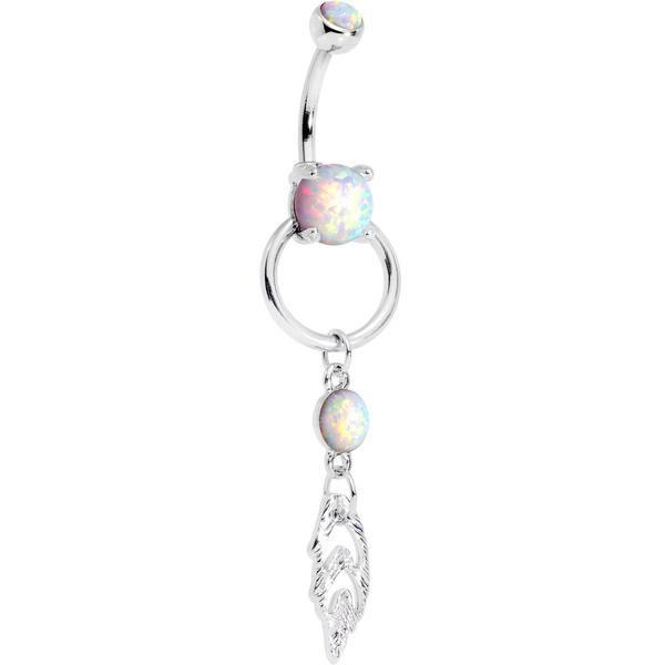 White Faux Opal Feeling Free Fallen Feather Dangle Belly Ring