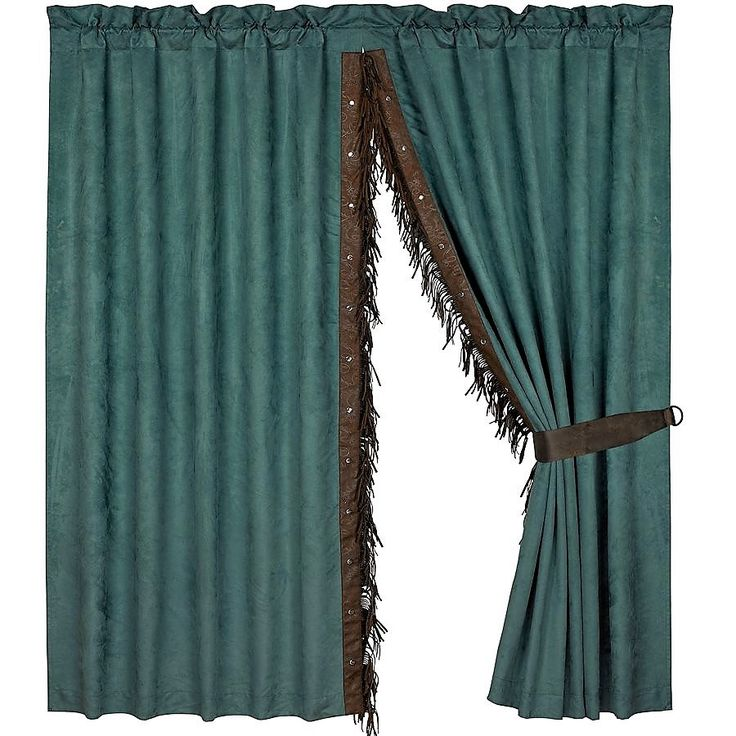 Leather Trim Western Curtain Panels