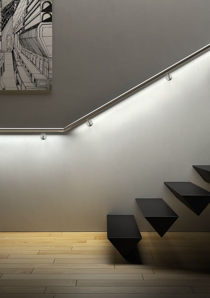 stairwell lighting ideas. led steel handrail railing system led system collection by iam design great for the basement and what heck is supporting those floating stairs stairwell lighting ideas