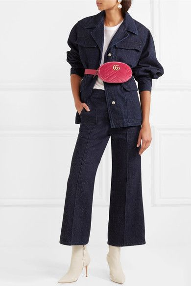 Gucci | GG Marmont matelassé velvet and leather belt bag | NET-A-PORTER.COM