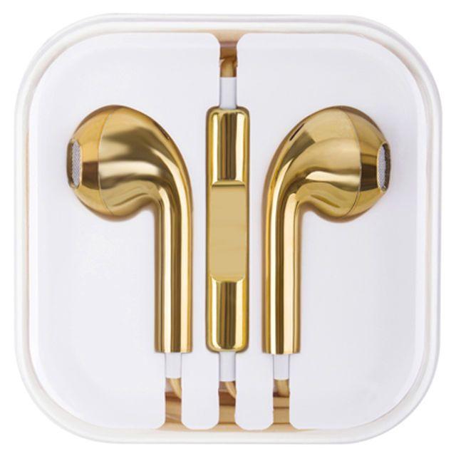 Ecouteurs dorés, cliquez sur l'image pour shopper #bazarchic #or #gold #golden #doré #ecouteurs #music #iphone