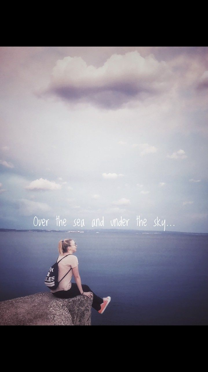 ove the sea and under the sky sea sky girl cliff cloud