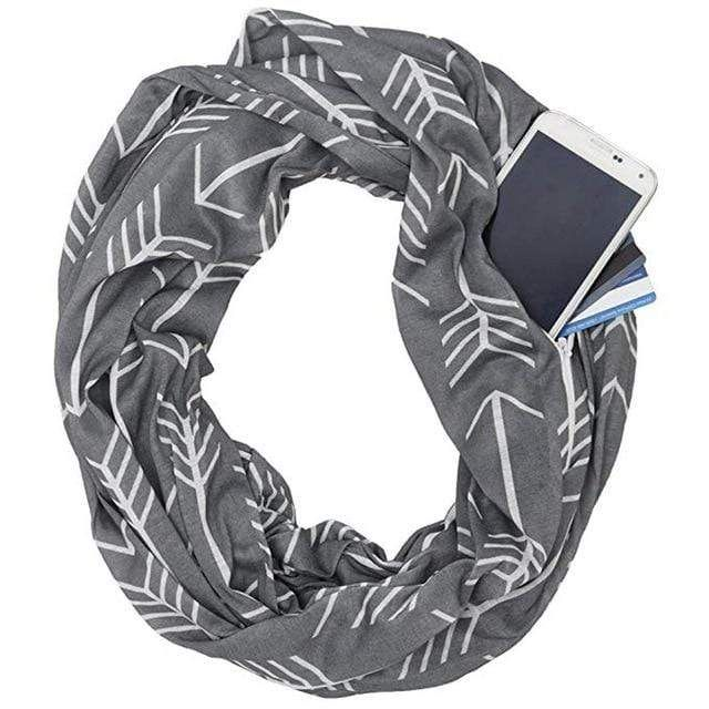 Unisex Women Winter Warm Loop Scarf Zip Up Secret Pocket Shawl Infinity Scarves