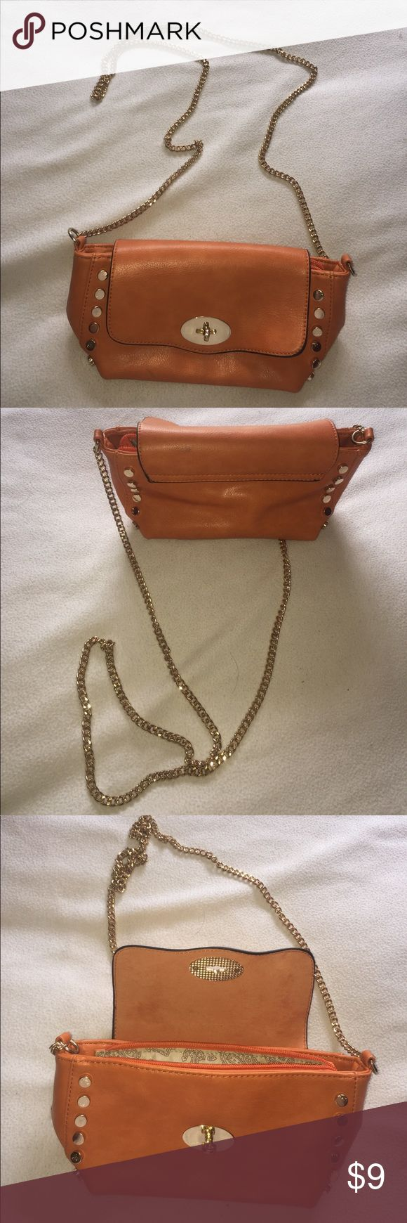 Mini side bag!!! Orange clutch bag, great condition!! Bags Crossbody Bags