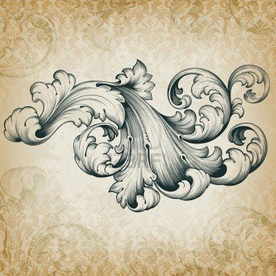 vintage baroque engraving floral scroll filigree design frame border acanthus pattern element at retro grunge damask background Stock Photo