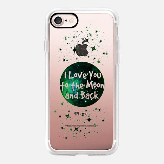 """I LOVE YOU TO THE MOON AND BACK, GREEN BLACK"" by Artist Julia Di Sano, @EbiEmporium on @Casetify #EbiEmporium #Casetify #Moon #ClearCase #LoveYou Colorful Space Stars Galaxy Romance Typography Transparent Painting - Classic Grip Case"