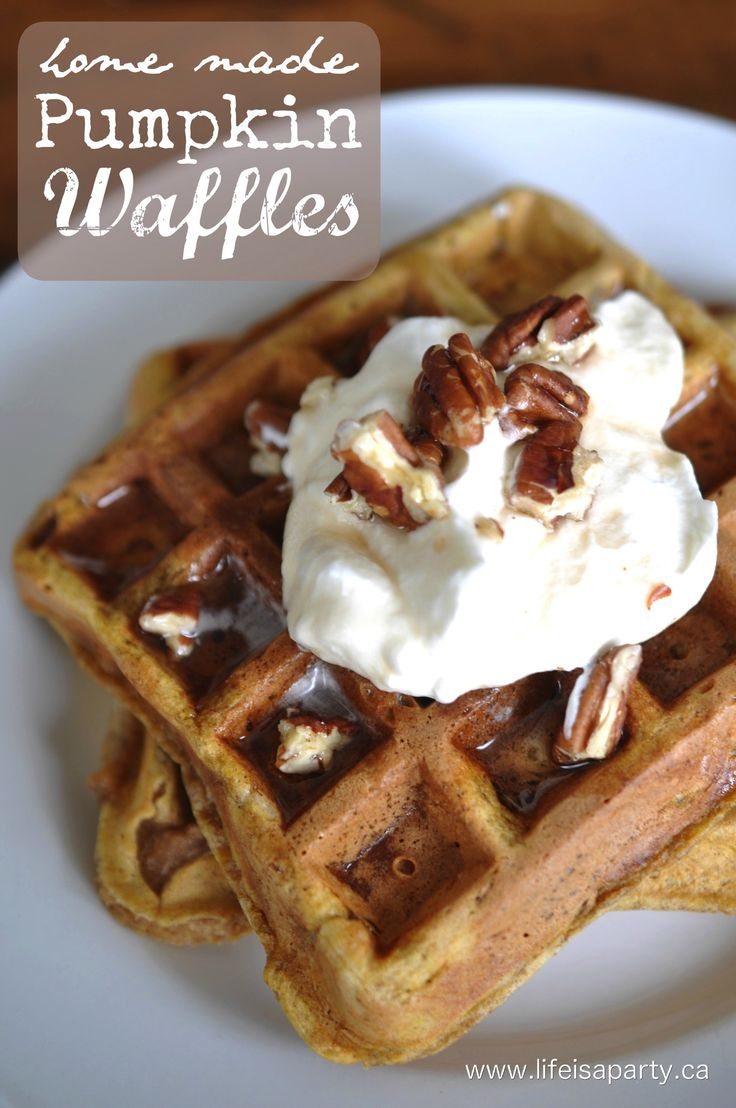Home Made Pumpkin Waffles -easy recipe for pumpkin waffles, perfect morning treat, and easy to freeze extras for a quick weekday breakfast later.