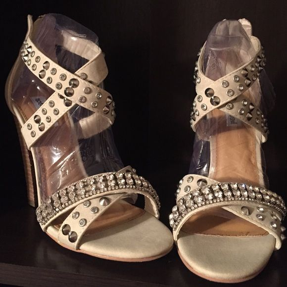 Not Rated Heels Brand new never worn, cream color with rhinestones. Comes with box. Not Rated Shoes Heels