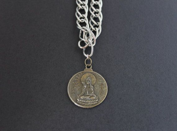 Men's Chunky Chain Necklace - Two Sided Buddhist Coin Necklace - Goddess of Mercy Necklace - Silver Colour Chain Unisex Necklace on Etsy, $28.00 AUD