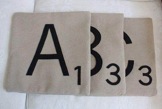 COZY Scrabble Pillows CASES ONLY // Scrabble Tile by dirtsastudio