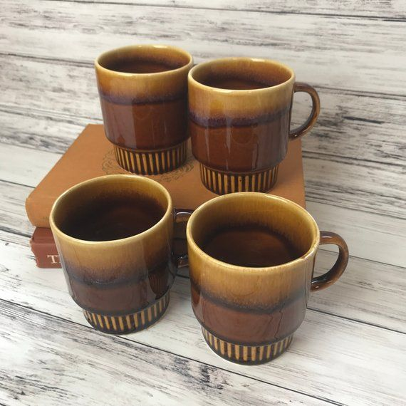 Brown Drip Glaze Mugs 70 S Stackable Cups Mid Century Glazes For Pottery Mugs Ceramic Mugs