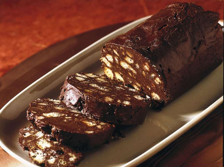 Chocolate 'chorizo' is a traditional Portuguese dessert made from dark chocolate, broken cookies, butter, eggs and a bit of port wine or rum