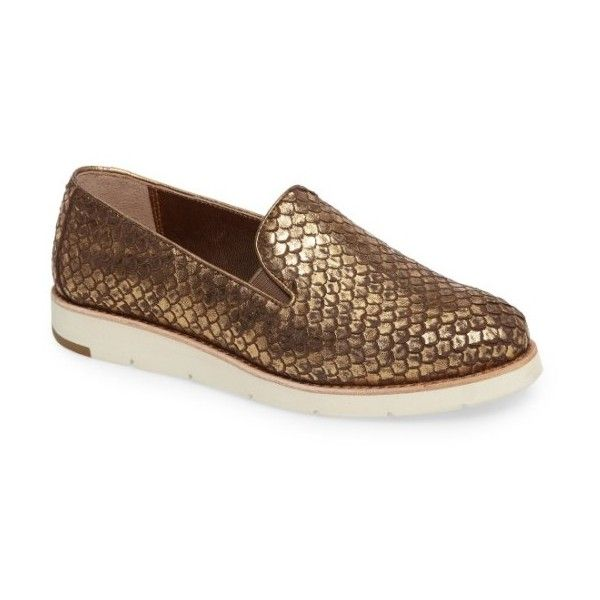 Women's Johnston & Murphy 'Paulette' Slip-On Sneaker ($168) ❤ liked on Polyvore featuring shoes, sneakers, gold leather, slip-on shoes, leather slip on sneakers, johnston murphy shoes, perforated leather sneakers and leather sneakers
