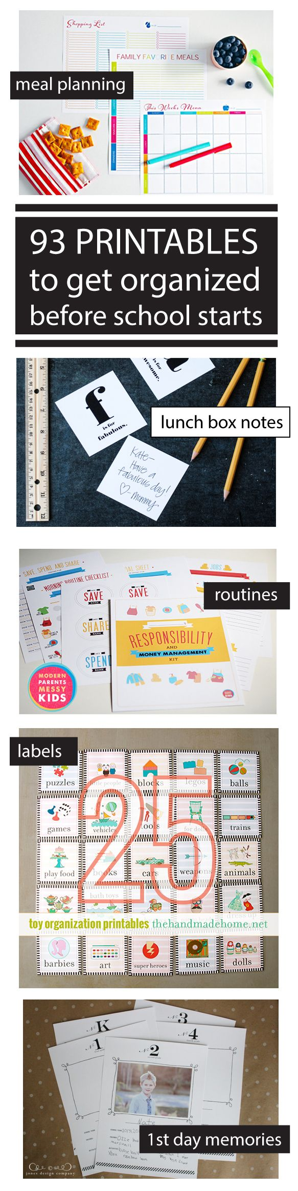printables including routine charts, 1st day of school picture printables, school info, menu planning, toy organization labels, and more!