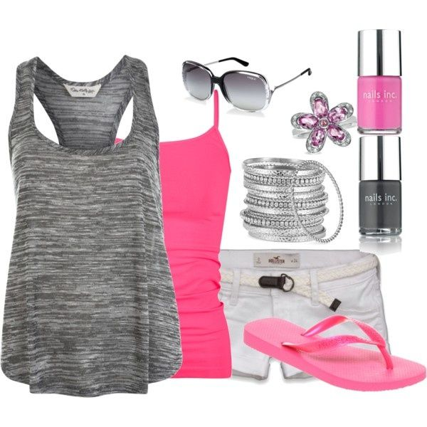 Gray and Pink: Pink Summer, Fashion, Style, Pink Outfit, Cute Summer Outfit, Summer Outfits, Flip Flops, Grey, Summer Clothing