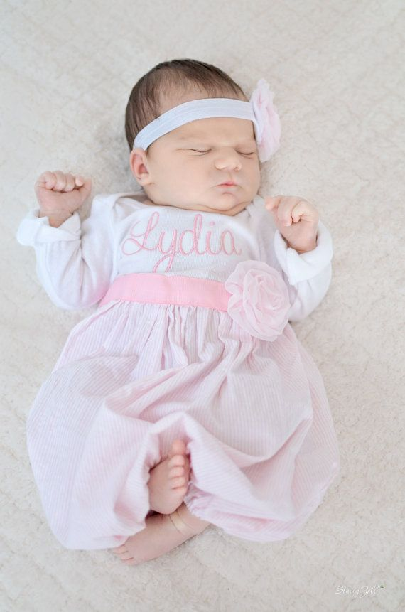 Baby layette gown with headband and flowers, diva sack, coming home outfit, chiffon rose, pink white seer sucker, pink chiffon rose on Etsy, $36.75