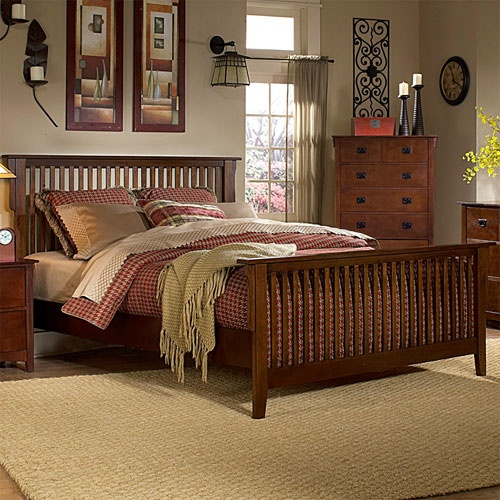 mission oak queen bed Mission style bedroom furniture