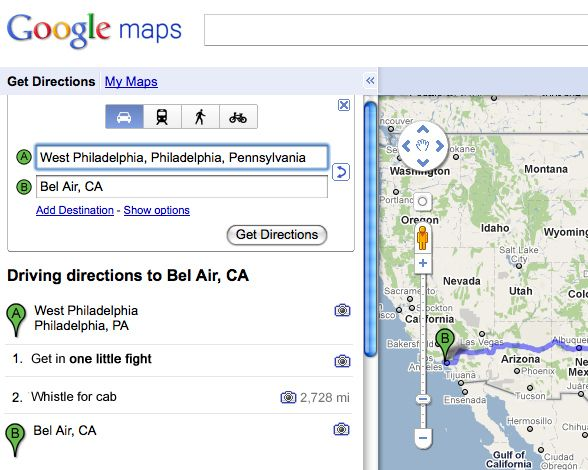 Google maps directions to Bel-Air