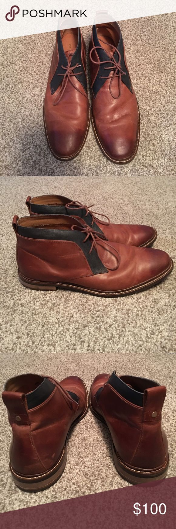 Men's Cole Haan grand os ankle boot shoe Brown Leather ankle boot chukka boot for men by Cole Haan. Lightly worn. Lace up. Blue trim around ankle. Cole Haan Shoes Chukka Boots