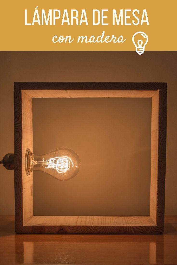 Lámpara de mesa de madera  ➜  Haz una lámpara geométrica para la mesa con madera y una bombilla molona.   #Lámpara #Mesa #Madera #DIY #Cola #Bricolaje #Decoración #Handfie
