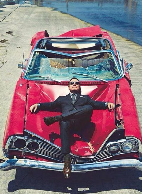 Take it easy folks. With you or with out you, world keeps rolling #chilling #fashion #sexy #suit #red #smashed #car #sunny