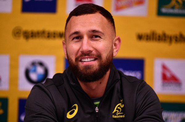 Quade Cooper Photos Photos - Quade Cooper of Australia speaks to the media following an Australia training session at the RDS Arena on November 24, 2016 in Dublin, Ireland. - Australia Rugby Squad Training and Press Conference