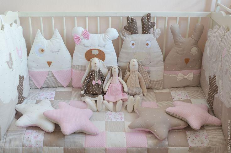 Купить Комплект бортиков в кроватку - бортики в кроватку, домики, бортики-домики, детская комната, горошек