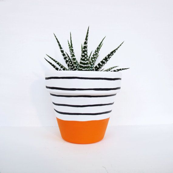 Hand Painted Plant Pot - Orange Stripe