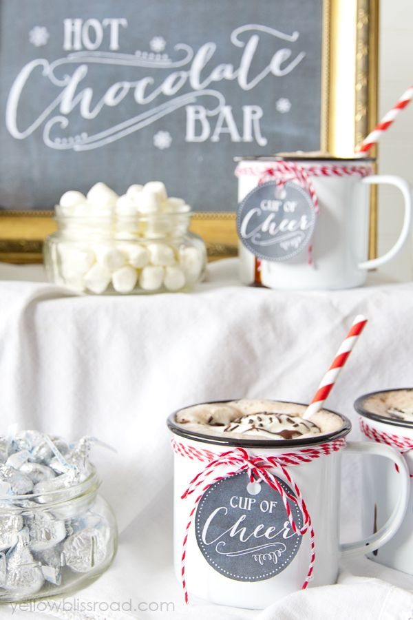 Hot Chocolate Bar with Free Printables #holidayideaexchange
