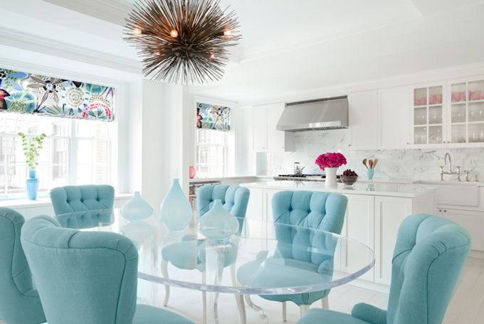 Turquoise Button Tufted Upholstered Chairs, Tropical Prints Window Shades,  Acrylic Dining Table, White