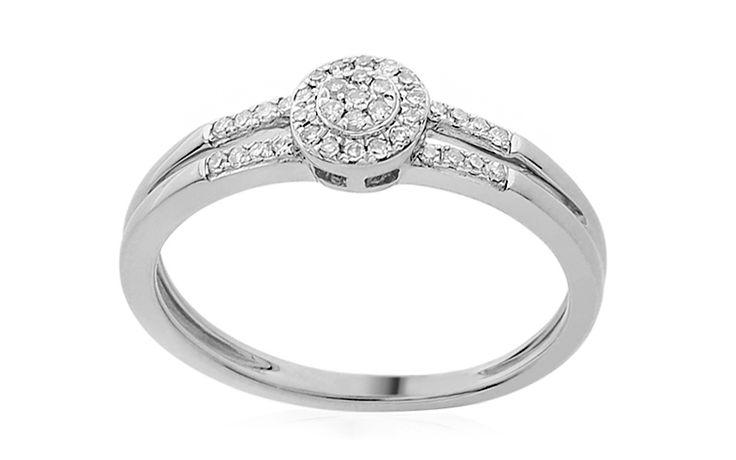 Zlatý zásnubní prsten s diamanty 0,130 ct Skye white