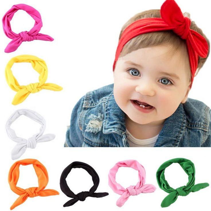 Hot Brand Baby Kids Girls Rabbit Bow Ear Hairband Headband Turban Knot Head Wraps
