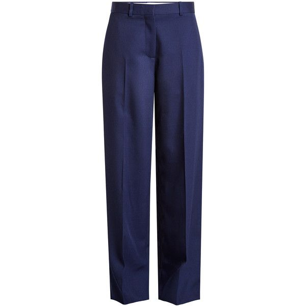 Victoria Beckham Wool Pants ($1,260) ❤ liked on Polyvore featuring pants, blue, victoria beckham, structure pants, wool trousers, blue trousers and victoria beckham trousers