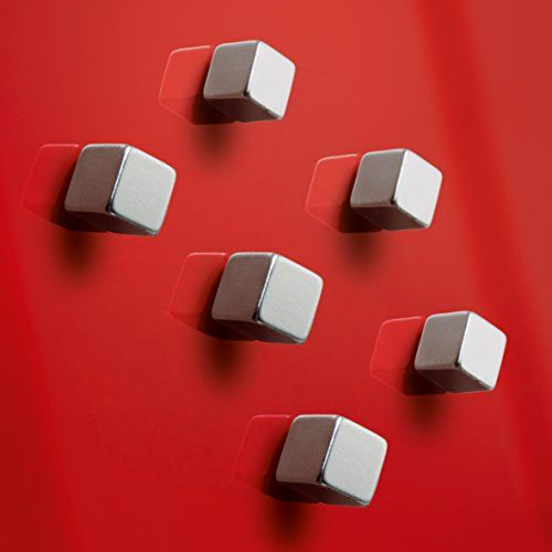 Sigel GL192 Lot de 6 aimants cubiques SuperDym C5 «Strong» pour tableaux magnétiques et tableaux magnétiques en verre, 1x1x1 cm, couleur…