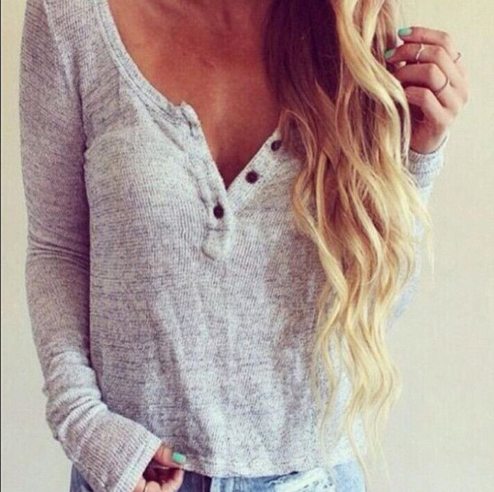 V-neck buttons long-sleeved Shirt Blouse Tops