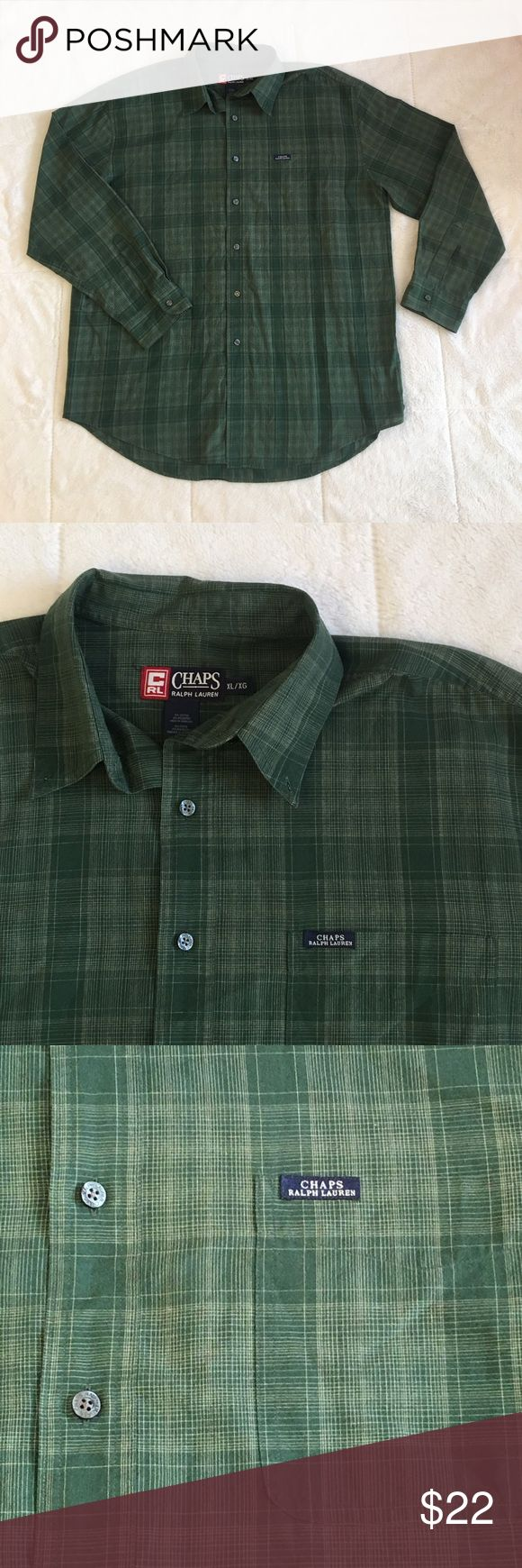 Chaps Ralph Lauren Green Button Up Dress Shirt XL Chaps Ralph Lauren Long Sleeve Button Up Dress Shirt. Men's Size XL Extra Large. Green With White Crossing Stripes. Lightly Worn. In Great Pre Owned Condition! Chaps Ralph Lauren  Shirts Casual Button Down Shirts