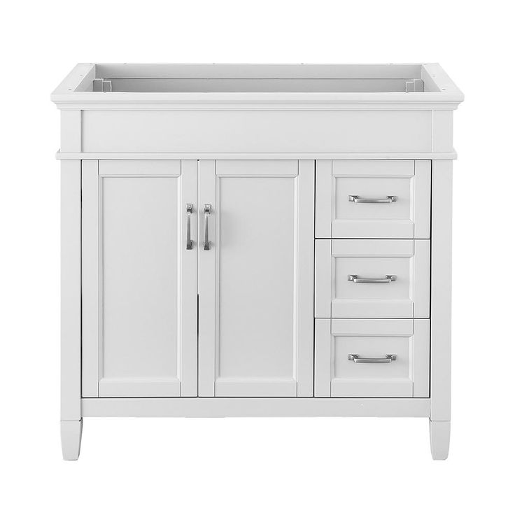 Foremost Ashburn 36 in. W x 21.75 in. D Vanity Cabinet in White-ASWA3621DR - The Home Depot