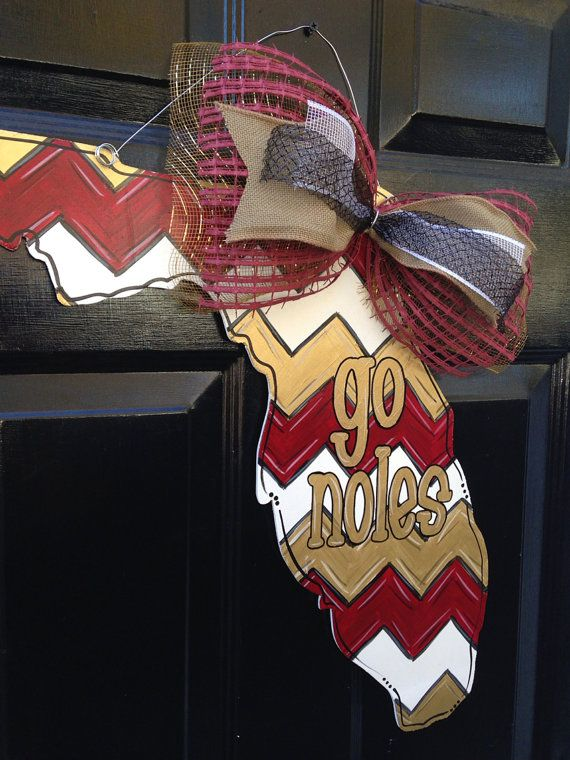 Florida State GO NOLES Doorhanger by PaintedPriss on Etsy
