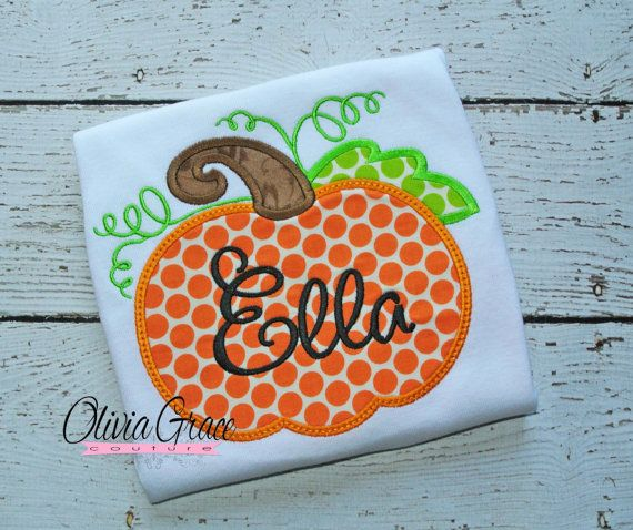 Halloween/Fall themed polka dot or chevron print Pumpkin Embroidered shirt or onesie for boys or girls by OliviaGraceCouture