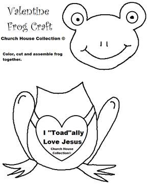 "Church House Collection Blog: I ""Toad""ally Love Jesus- Frog Valentine Heart Craft Cutout For Kids- For Sunday School, Children's Church or at Home"