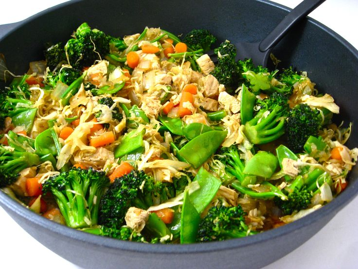 Stir frys make a terrific weeknight dinner since they come together really quickly and can be made healthy too. This skinny one is chock full of broccoli, pea pods, carrots, cabbage, onions and lean chicken breasts. The skinny for 1 huge, fiber
